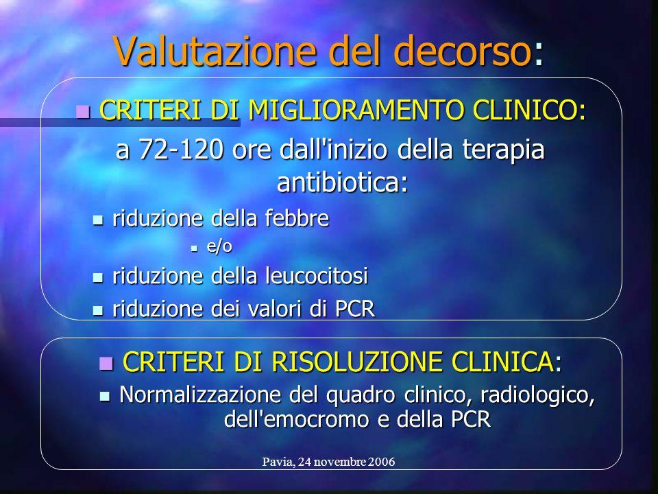 Pavia, 24 novembre 2006 Valutazione del decorso: CRITERI DI MIGLIORAMENTO CLINICO: CRITERI DI MIGLIORAMENTO CLINICO: a 72-120 ore dall'inizio della te