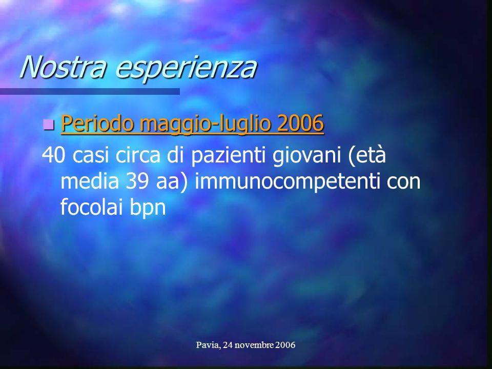 Pavia, 24 novembre 2006 Nostra esperienza Periodo maggio-luglio 2006 Periodo maggio-luglio 2006 40 casi circa di pazienti giovani (età media 39 aa) im