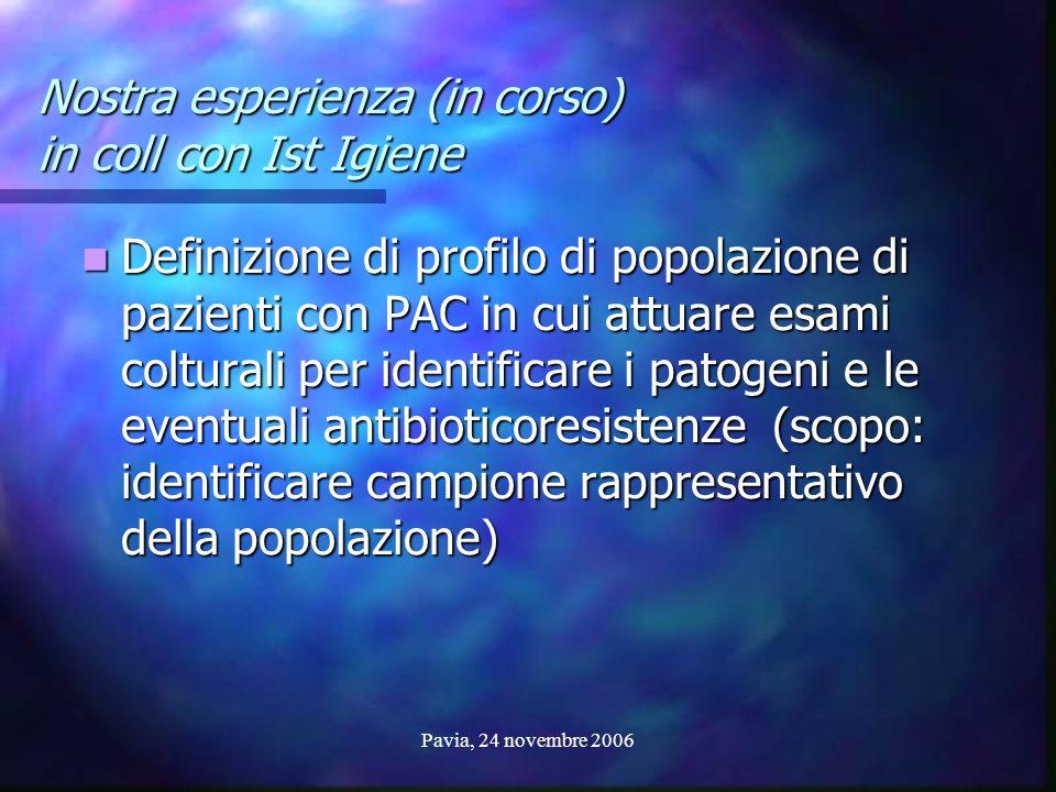 Pavia, 24 novembre 2006 Nostra esperienza (in corso) in coll con Ist Igiene Definizione di profilo di popolazione di pazienti con PAC in cui attuare e