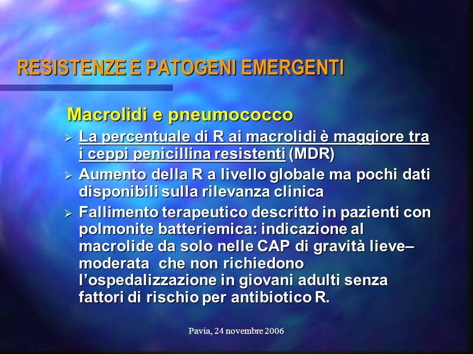 Pavia, 24 novembre 2006 RESISTENZE E PATOGENI EMERGENTI Macrolidi e pneumococco Macrolidi e pneumococco  La percentuale di R ai macrolidi è maggiore