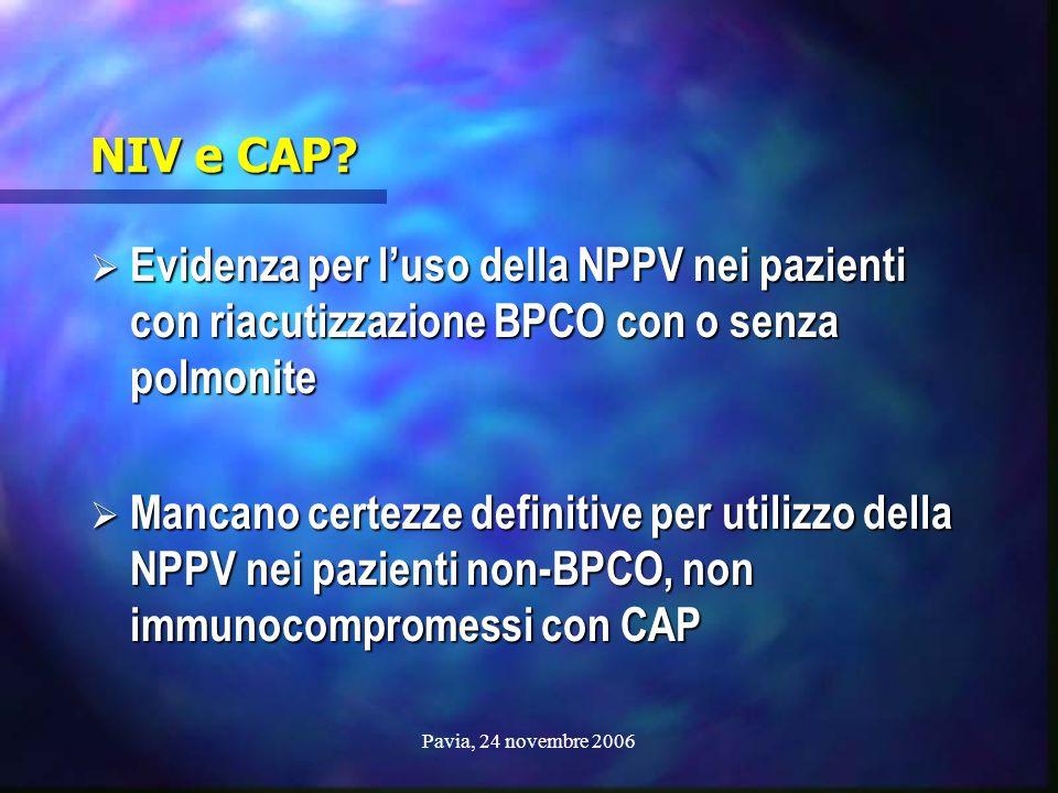 Pavia, 24 novembre 2006 NIV e CAP?  Evidenza per l'uso della NPPV nei pazienti con riacutizzazione BPCO con o senza polmonite  Mancano certezze defi