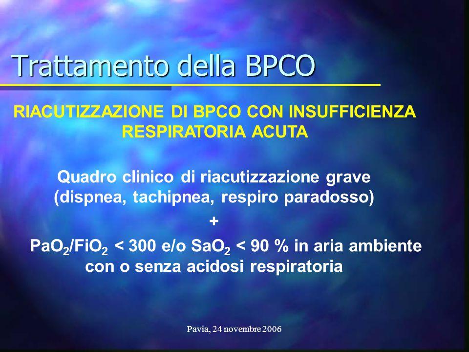Pavia, 24 novembre 2006 RIACUTIZZAZIONE DI BPCO CON INSUFFICIENZA RESPIRATORIA ACUTA Quadro clinico di riacutizzazione grave (dispnea, tachipnea, resp