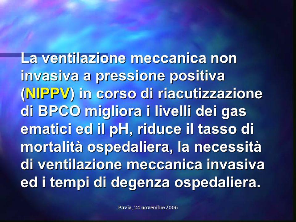 Pavia, 24 novembre 2006 La ventilazione meccanica non invasiva a pressione positiva (NIPPV) in corso di riacutizzazione di BPCO migliora i livelli dei