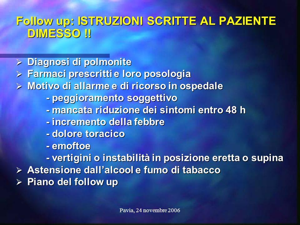 Pavia, 24 novembre 2006 CAP: PROPOSTE CAP: PROPOSTE Follow up: ISTRUZIONI SCRITTE AL PAZIENTE DIMESSO !!  Diagnosi di polmonite  Farmaci prescritti