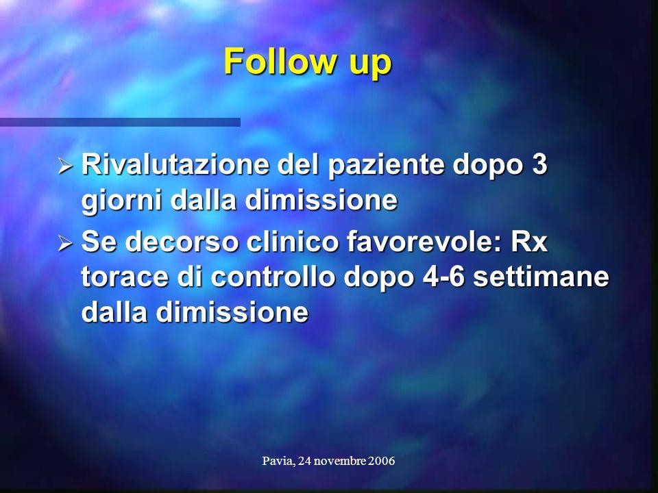 Pavia, 24 novembre 2006 Follow up Follow up  Rivalutazione del paziente dopo 3 giorni dalla dimissione  Se decorso clinico favorevole: Rx torace di