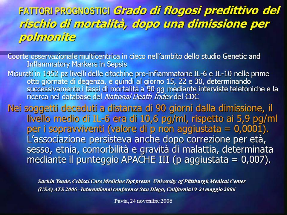 Pavia, 24 novembre 2006 FATTORI PROGNOSTICI Grado di flogosi predittivo del rischio di mortalità, dopo una dimissione per polmonite Coorte osservazion