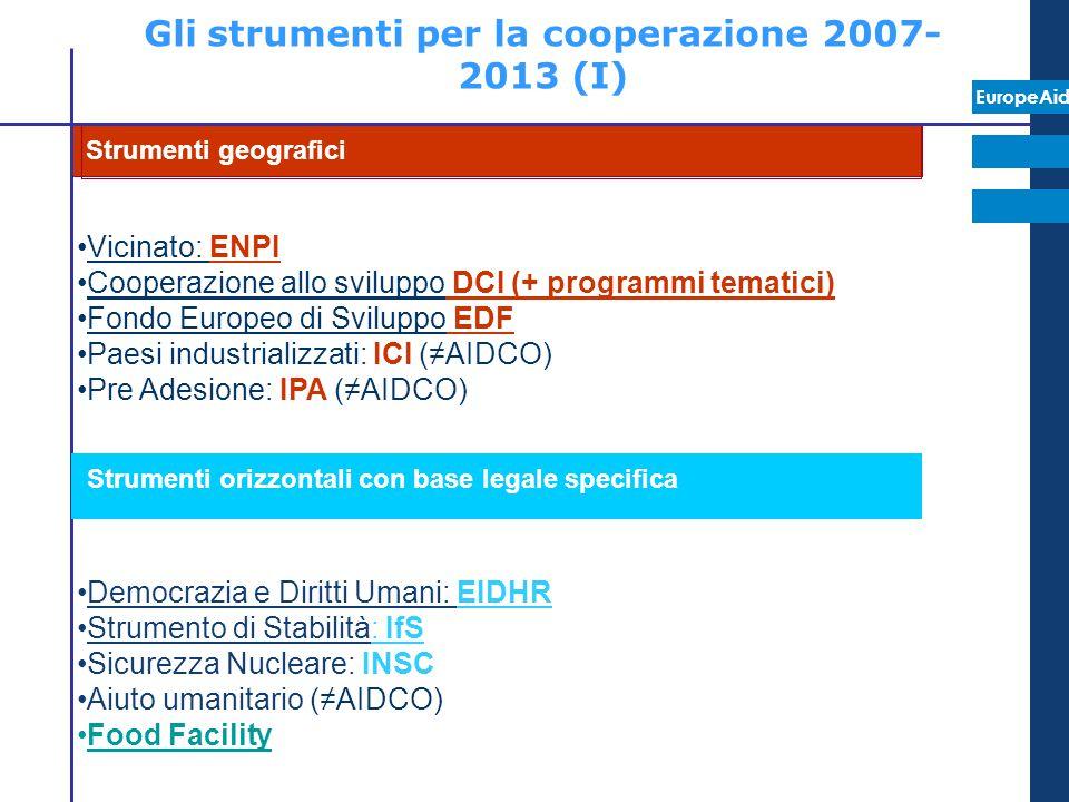EuropeAid Gli strumenti per la cooperazione 2007- 2013 (I) Vicinato: ENPI Cooperazione allo sviluppo DCI (+ programmi tematici) Fondo Europeo di Svilu