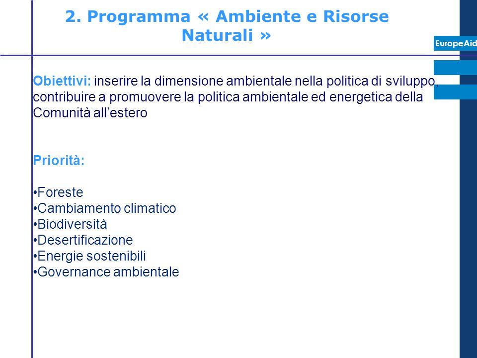 EuropeAid 2. Programma « Ambiente e Risorse Naturali » Obiettivi: inserire la dimensione ambientale nella politica di sviluppo, contribuire a promuove