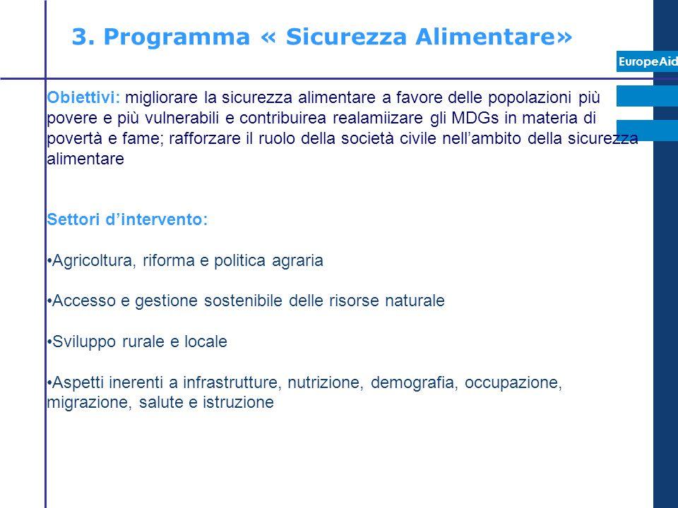 EuropeAid 3. Programma « Sicurezza Alimentare» Obiettivi: migliorare la sicurezza alimentare a favore delle popolazioni più povere e più vulnerabili e
