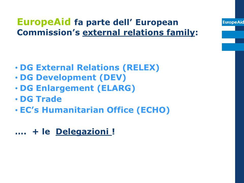 EuropeAid fa parte dell' European Commission's external relations family: DG External Relations (RELEX) DG Development (DEV) DG Enlargement (ELARG) DG