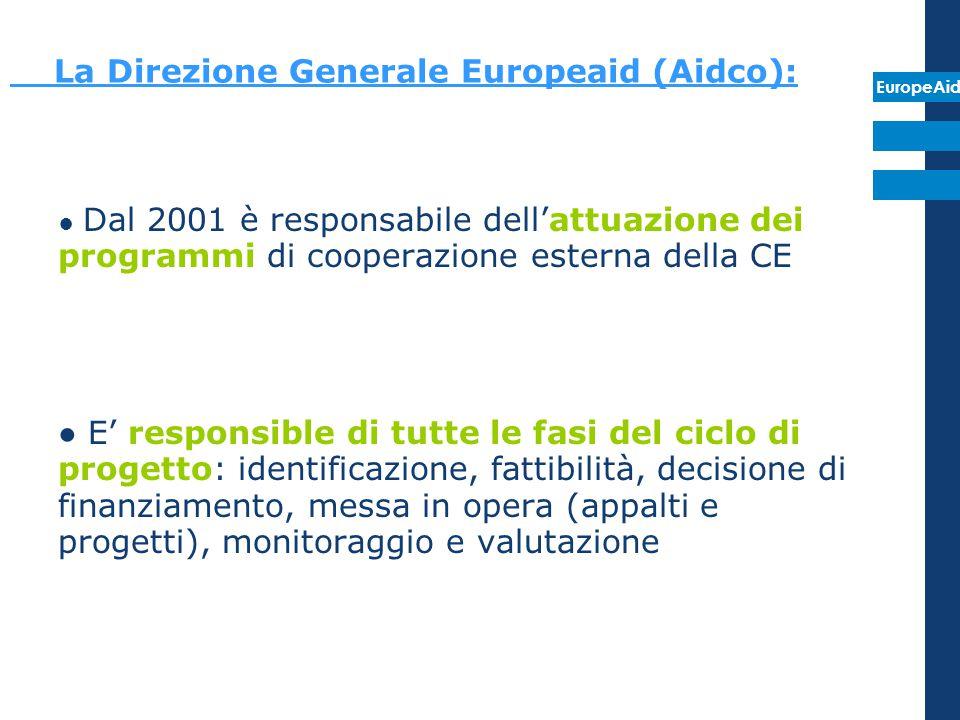 EuropeAid La Direzione Generale Europeaid (Aidco): ● Dal 2001 è responsabile dell'attuazione dei programmi di cooperazione esterna della CE ● E' respo