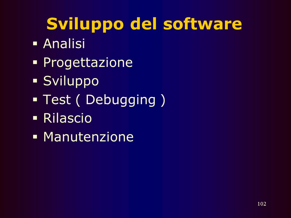 101 Software applicativi  Elaboratori di testi (word processor)  Fogli di calcolo (spreadsheets)  Database  Grafica  CAD  Posta elettronica  Br