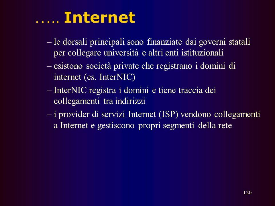 119 Internet  Internet è una rete di reti di computer  Deve molto del suo successo alla semplicità e robustezza dei suoi protocolli di comunicazione