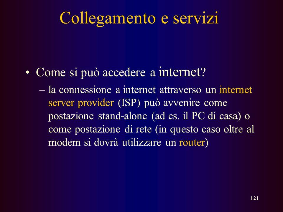 120 ….. Internet –le dorsali principali sono finanziate dai governi statali per collegare università e altri enti istituzionali –esistono società priv