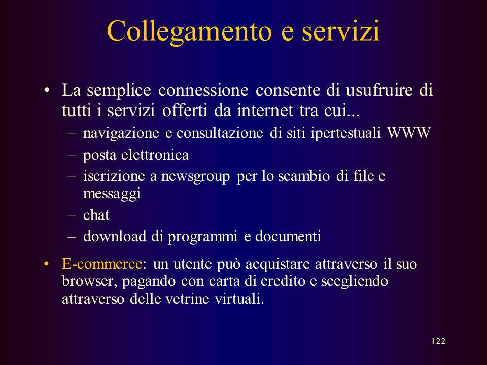 121 Collegamento e servizi Come si può accedere a internet ? –la connessione a internet attraverso un internet server provider (ISP) può avvenire come