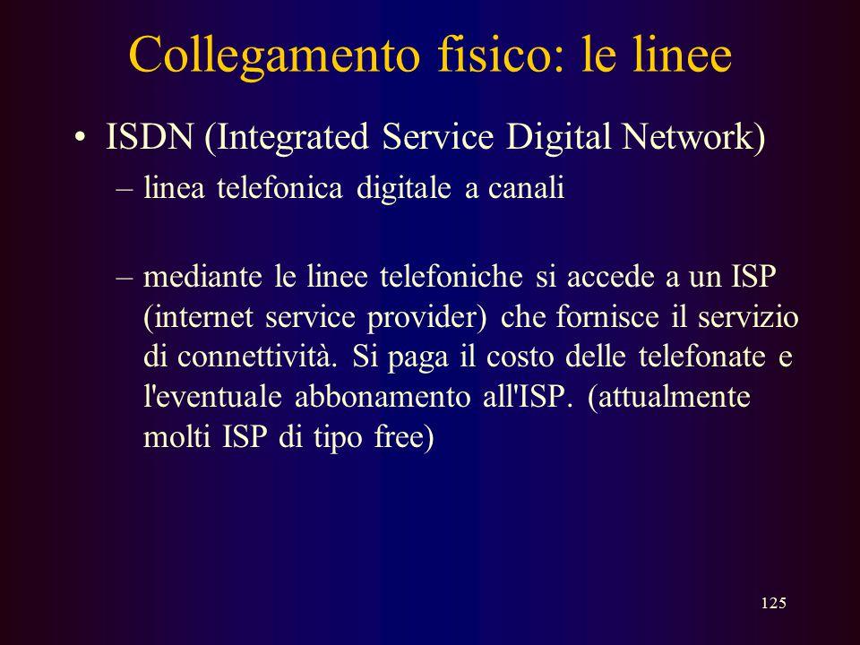 124 Collegamento fisico: le linee PSTN (Public Switched Telephone Network) –la normale linea telefonica analogica –ampiezza di banda MOLTO limitata (f