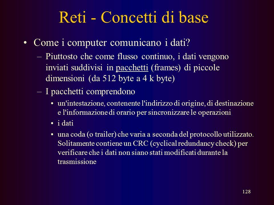 127 Reti - Concetti di base Che cos'è un protocollo? –un formato concordato per la trasmissione di dati tra due dispositivi Un protocollo determina...