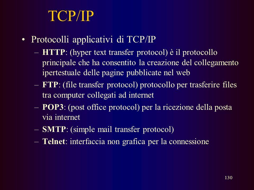 129 TCP/IP Che cos'è TCP/IP? –TCP/IP = Transmission Control Protocol / Internet Protocol –TCP/IP è il protocollo usato per la rete Internet –TCP/IP è
