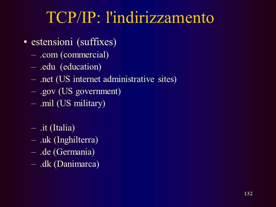 131 Indirizzi IP Che cos'è il numero di IP? –Il numero di IP identifica in modo univoco un computer in rete –Se il collegamento di quel computer è per