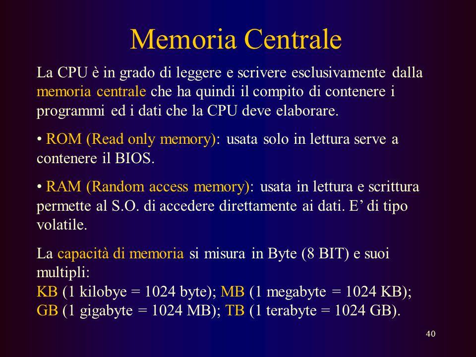 39 La Memoria Con il termine memoria si intende generalmente la memoria centrale di un elaboratore dove risiedono i dati ed i programmi del calcolator