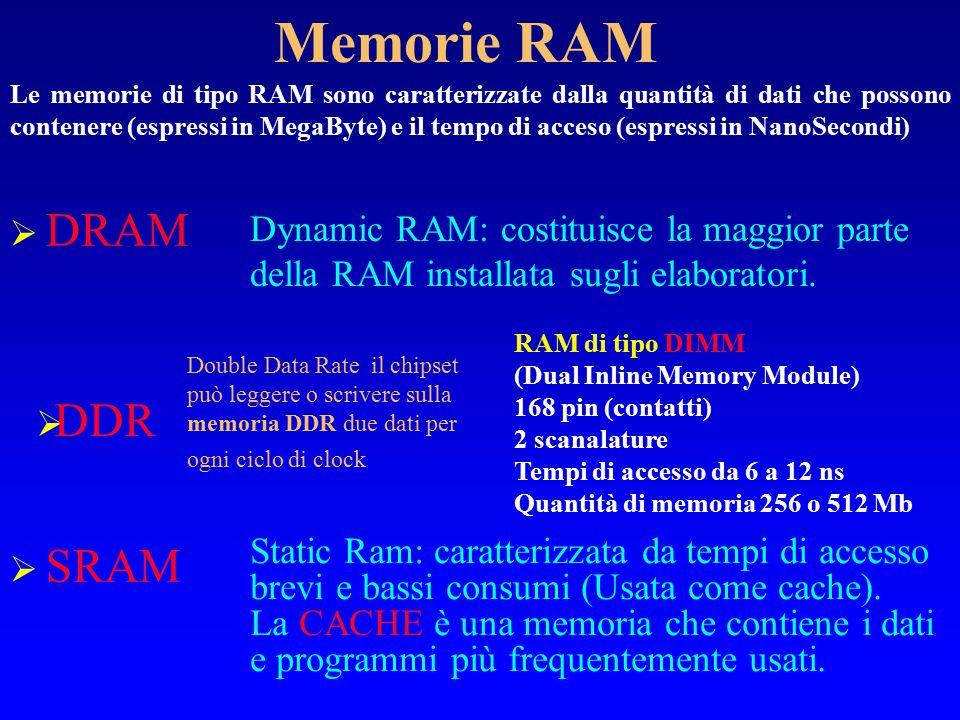 40 Memoria Centrale La CPU è in grado di leggere e scrivere esclusivamente dalla memoria centrale che ha quindi il compito di contenere i programmi ed