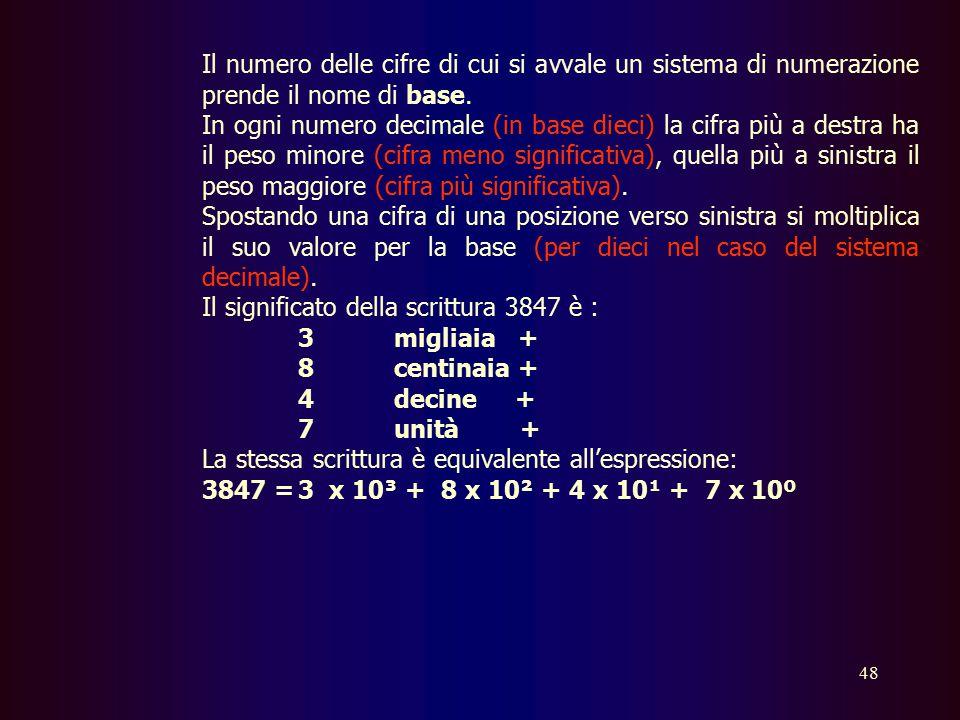 47 Sistemi di numerazione e codifica delle informazioni Cenni sui sistemi di numerazione Si chiama sistema di numerazione l'insieme di un numero finit