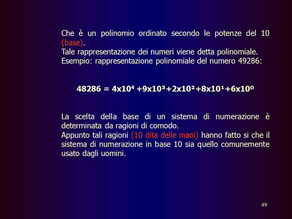 48 Il numero delle cifre di cui si avvale un sistema di numerazione prende il nome di base. In ogni numero decimale (in base dieci) la cifra più a des