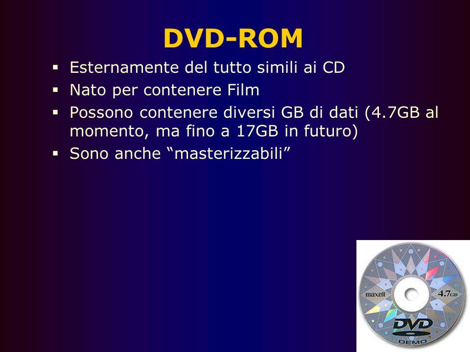 CD Rom Tipo di lettura: ottica Tipo di accesso: sequenziale Capacità: 650MB CD – 17GB DVD Pro: diffusione - economicità E' un disco di plastica inciso