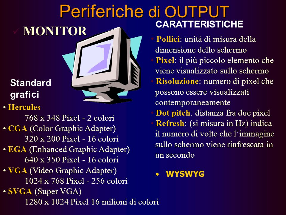 73 Dispositivi di Output Il Video/Monitor: a raggi catodici o a cristalli liquidi è visto dal pc come un insieme di punti (detti pixel) disposti su un