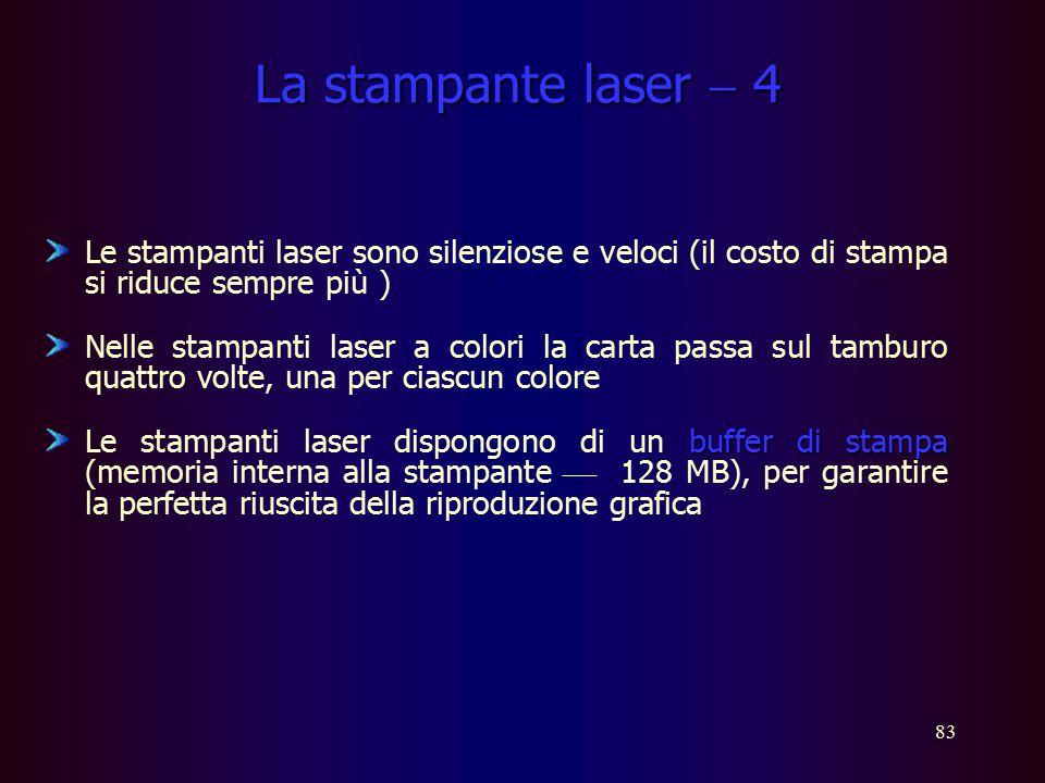82 La stampante laser  1 La memoria della stampante mantiene tutte le informazioni relative alla pagina e il microprocessore, contenuto nella stampan