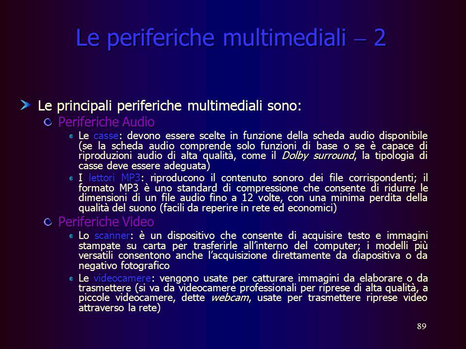 88 Le periferiche multimediali  1 I personal computer domestici contano ormai numerose periferiche multimediali e, generalmente, sono utilizzati sia