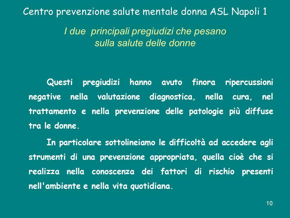 10 Centro prevenzione salute mentale donna ASL Napoli 1 I due principali pregiudizi che pesano sulla salute delle donne Questi pregiudizi hanno avuto