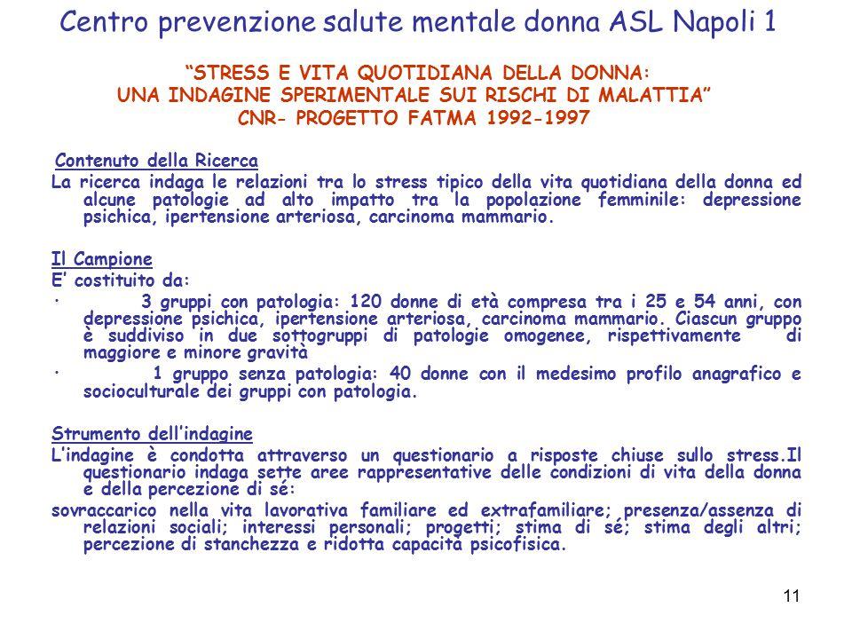 """11 Centro prevenzione salute mentale donna ASL Napoli 1 """"STRESS E VITA QUOTIDIANA DELLA DONNA: UNA INDAGINE SPERIMENTALE SUI RISCHI DI MALATTIA"""" CNR-"""