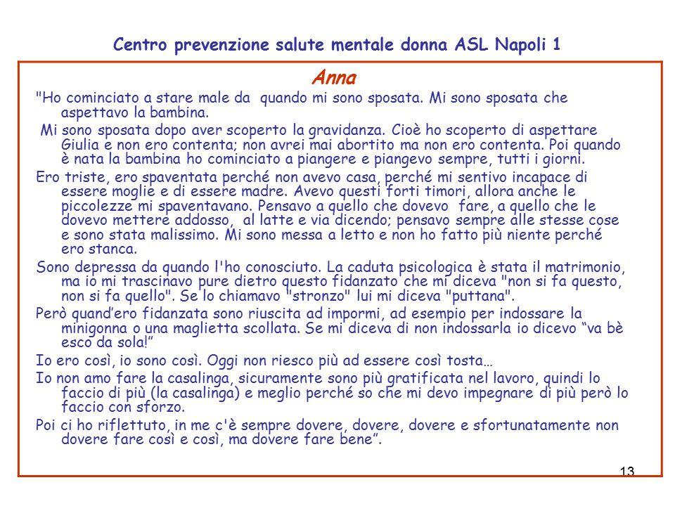 13 Centro prevenzione salute mentale donna ASL Napoli 1 Anna