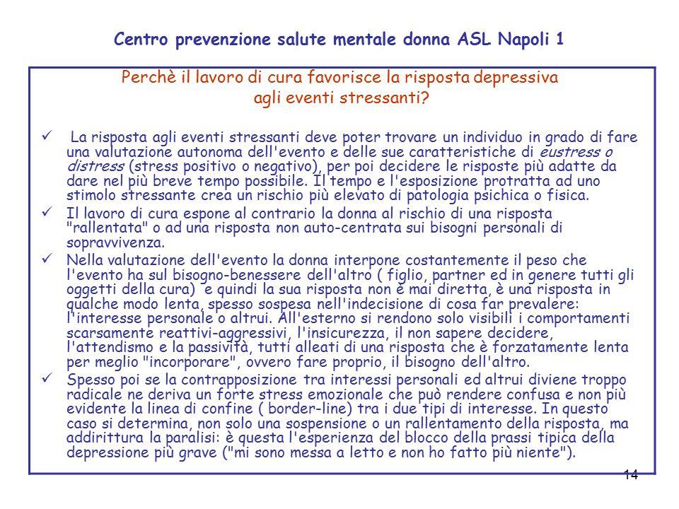 14 Centro prevenzione salute mentale donna ASL Napoli 1 Perchè il lavoro di cura favorisce la risposta depressiva agli eventi stressanti? La risposta