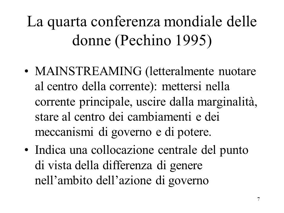 7 La quarta conferenza mondiale delle donne (Pechino 1995) MAINSTREAMING (letteralmente nuotare al centro della corrente): mettersi nella corrente pri