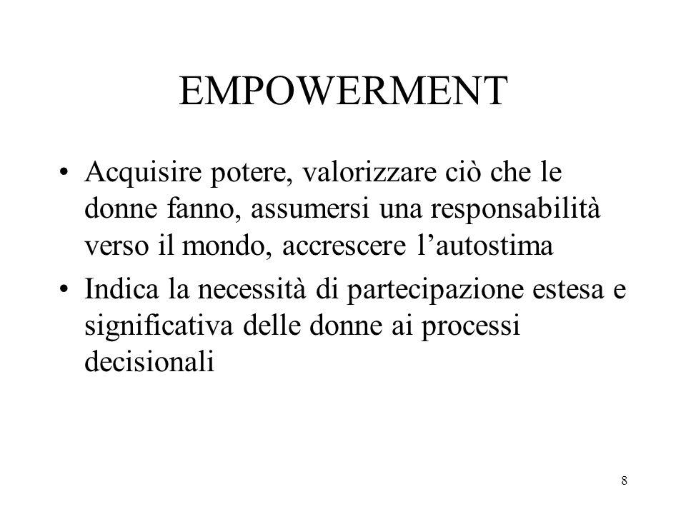 8 EMPOWERMENT Acquisire potere, valorizzare ciò che le donne fanno, assumersi una responsabilità verso il mondo, accrescere l'autostima Indica la nece