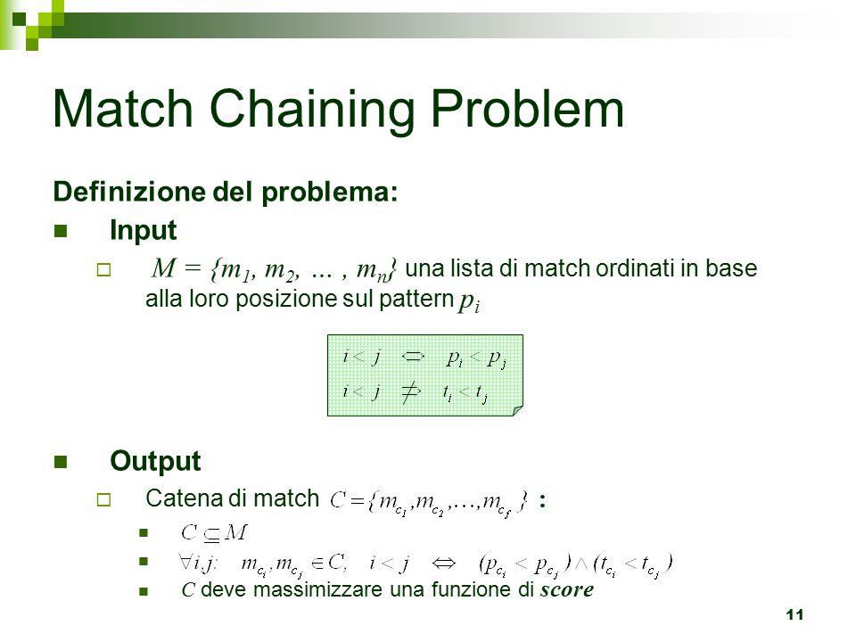 11 Match Chaining Problem Definizione del problema: Input  M = {m 1, m 2, …, m n } una lista di match ordinati in base alla loro posizione sul pattern p i Output  Catena di match : C deve massimizzare una funzione di score