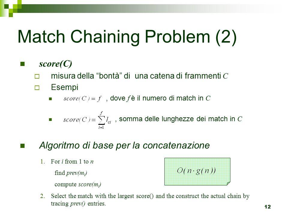 12 Match Chaining Problem (2) score(C)  misura della bontà di una catena di frammenti C  Esempi, dove f è il numero di match in C, somma delle lunghezze dei match in C Algoritmo di base per la concatenazione 1.For i from 1 to n find prev(m i ) compute score(m i ) 2.Select the match with the largest score() and the construct the actual chain by tracing prev() entries.