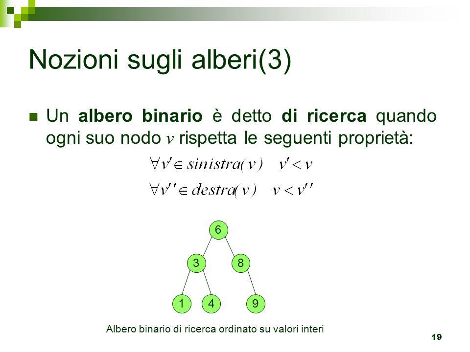 19 Nozioni sugli alberi(3) Un albero binario è detto di ricerca quando ogni suo nodo v rispetta le seguenti proprietà: 6 38 149 Albero binario di ricerca ordinato su valori interi