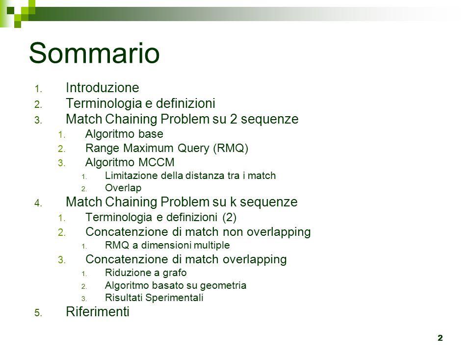 93 Ricerca del predecessore(2) La ricerca dei match candidati viene fatta utilizzando RMQ a 2k dimensioni su due regioni disgiunte  le prime k dimensioni devono assicurare che beg(m')  A(m i )  le ultime k dimensioni devono assicurare, distinguendo i due casi, che end(m')  {AB(m i )} oppure end(m')  C(m i ) C(m i ) A(m i ) B(m i ) S 2 (cDNA) S 1 (genoma) mimi  m 1 = RMQ D1 (A(m i ), {AB(m i )}) per la ricerca del match di massimo score che non ha sovrapposizione sul pattern (cDNA) con il match corrente m i end(m 1 ).x k < beg(m i ).x k  m 2 = RMQ D2 (A(m i ), C(m i )) per la ricerca del match di massimo score che ha sovrapposizione sul pattern (cDNA) con il match corrente m i beg(m i ).x k ≤ end(m 2 ).x k ≤ end(m i ).x k m1m1 m2m2