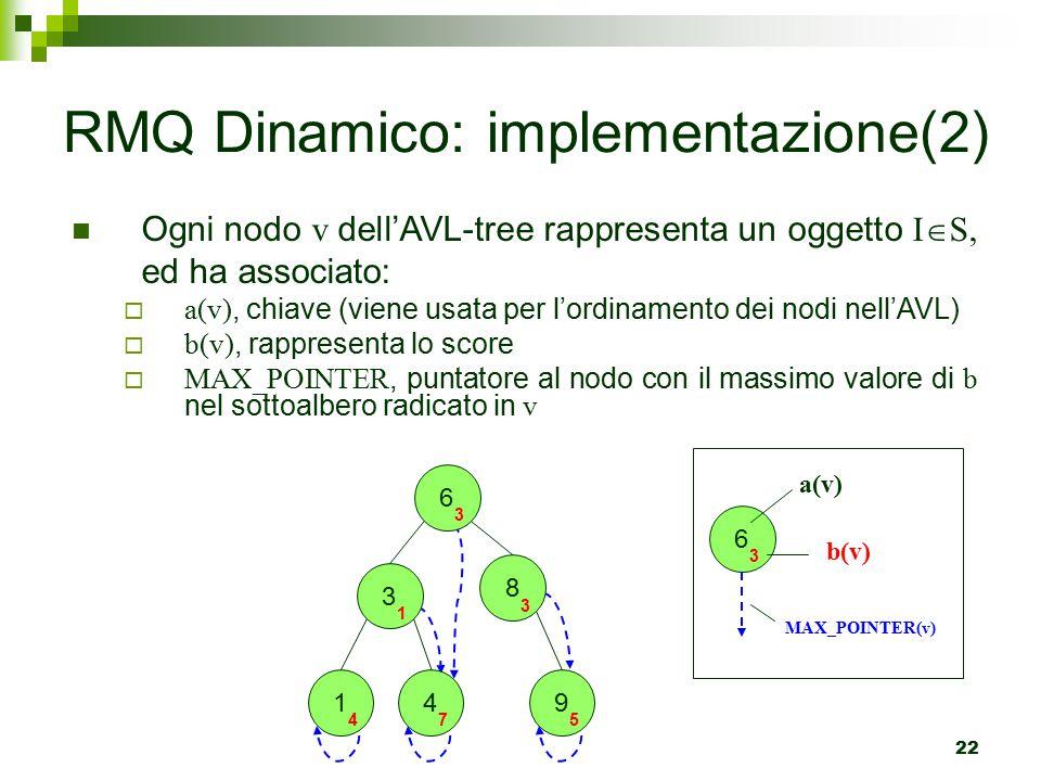 22 Ogni nodo v dell'AVL-tree rappresenta un oggetto I  S, ed ha associato:  a(v), chiave (viene usata per l'ordinamento dei nodi nell'AVL)  b(v), rappresenta lo score  MAX_POINTER, puntatore al nodo con il massimo valore di b nel sottoalbero radicato in v RMQ Dinamico: implementazione(2) 6 3 8 3 1 4 3 1 4 7 9 5 6 3 a(v) b(v) MAX_POINTER(v)