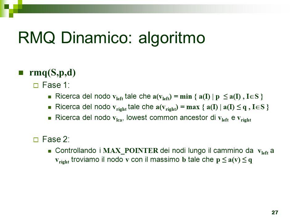 27 rmq(S,p,d)  Fase 1: Ricerca del nodo v left tale che a(v left ) = min { a(I) | p ≤ a(I), I  S } Ricerca del nodo v right tale che a(v right ) = max { a(I) | a(I) ≤ q, I  S } Ricerca del nodo v lca, lowest common ancestor di v left e v right  Fase 2: Controllando i MAX_POINTER dei nodi lungo il cammino da v left a v right troviamo il nodo v con il massimo b tale che p ≤ a(v) ≤ q RMQ Dinamico: algoritmo