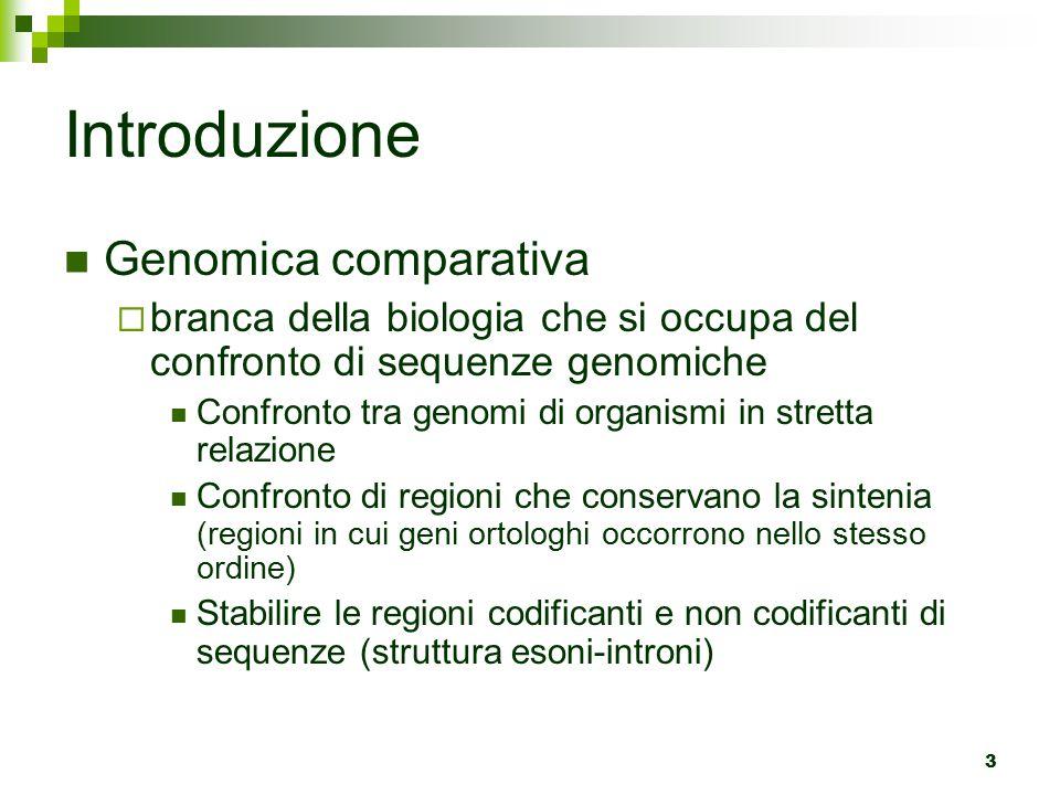 3 Introduzione Genomica comparativa  branca della biologia che si occupa del confronto di sequenze genomiche Confronto tra genomi di organismi in stretta relazione Confronto di regioni che conservano la sintenia (regioni in cui geni ortologhi occorrono nello stesso ordine) Stabilire le regioni codificanti e non codificanti di sequenze (struttura esoni-introni)