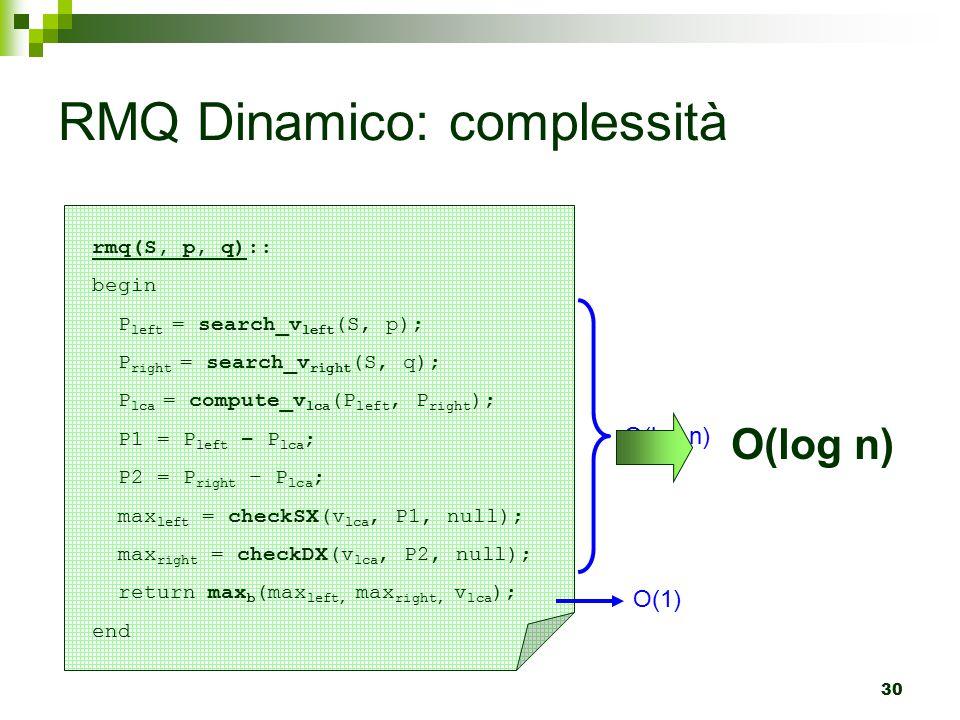 30 RMQ Dinamico: complessità rmq(S, p, q):: begin P left = search_v left (S, p); P right = search_v right (S, q); P lca = compute_v lca (P left, P right ); P1 = P left – P lca ; P2 = P right – P lca ; max left = checkSX(v lca, P1, null); max right = checkDX(v lca, P2, null); return max b (max left, max right, v lca ); end O(log n) O(1) O(log n)
