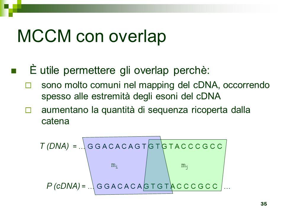 35 MCCM con overlap È utile permettere gli overlap perchè:  sono molto comuni nel mapping del cDNA, occorrendo spesso alle estremità degli esoni del cDNA  aumentano la quantità di sequenza ricoperta dalla catena T (DNA) = … G G A C A C A G T G T G T A C C C G C C P (cDNA) = … G G A C A C A G T G T A C C C G C C … mjmj mimi