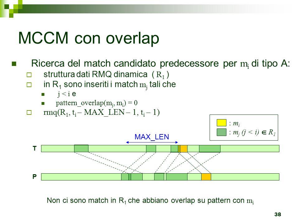 38 MCCM con overlap Ricerca del match candidato predecessore per m i di tipo A:  struttura dati RMQ dinamica ( R 1 )  in R 1 sono inseriti i match m j tali che j < i e pattern_overlap(m j, m i ) = 0  rmq(R 1, t i  MAX_LEN  1, t i  1) : m i : m j (j < i)  R 1 P T MAX_LEN Non ci sono match in R 1 che abbiano overlap su pattern con m i