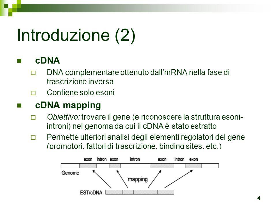 4 Introduzione (2) cDNA  DNA complementare ottenuto dall'mRNA nella fase di trascrizione inversa  Contiene solo esoni cDNA mapping  Obiettivo: trovare il gene (e riconoscere la struttura esoni- introni) nel genoma da cui il cDNA è stato estratto  Permette ulteriori analisi degli elementi regolatori del gene (promotori, fattori di trascrizione, binding sites, etc.)