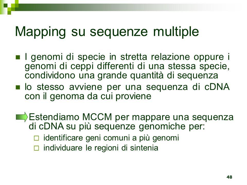 48 Mapping su sequenze multiple I genomi di specie in stretta relazione oppure i genomi di ceppi differenti di una stessa specie, condividono una grande quantità di sequenza lo stesso avviene per una sequenza di cDNA con il genoma da cui proviene Estendiamo MCCM per mappare una sequenza di cDNA su più sequenze genomiche per:  identificare geni comuni a più genomi  individuare le regioni di sintenia