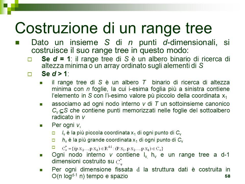 58 Dato un insieme S di n punti d-dimensionali, si costruisce il suo range tree in questo modo:  Se d = 1: il range tree di S è un albero binario di ricerca di altezza minima o un array ordinato sugli alementi di S  Se d > 1: il range tree di S è un albero T binario di ricerca di altezza minima con n foglie, la cui i-esima foglia più a sinistra contiene l'elemento in S con l'i-esimo valore pù piccolo della coordinata x 1 associamo ad ogni nodo interno v di T un sottoinsieme canonico C v  S che contiene punti memorizzati nelle foglie del sottoalbero radicato in v Per ogni v,  l v è la più piccola coordinata x 1 di ogni punto di C v  h v è la più grande coordinata x 1 di ogni punto di C v  Ogni nodo interno v contiene l v, h v e un range tree a d-1 dimensioni costruito su Per ogni dimensione fissata d la struttura dati è costruita in O(n log d-1 n) tempo e spazio Costruzione di un range tree